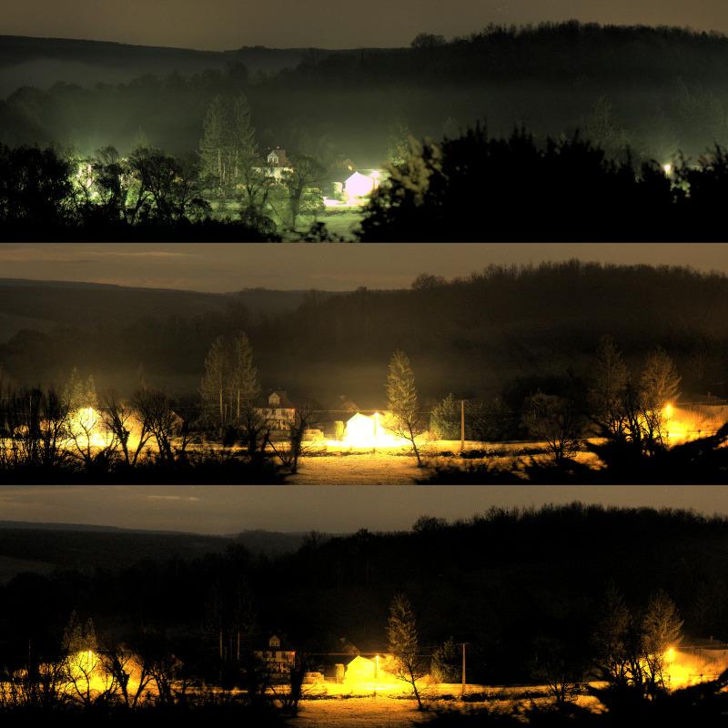 Az új világítás a normál, és az éjszakai (22 és 4 óra közötti) állapota is látszik a felvételen. Így még inkább látszik a szín változása. Az éjszaka jelentős részében az ökológiai és egészségügyi szempontból kedvező borostyán-sárga LED-ek világítanak csak. (fotó: fenyszennyezes.hu/vvkl.html)