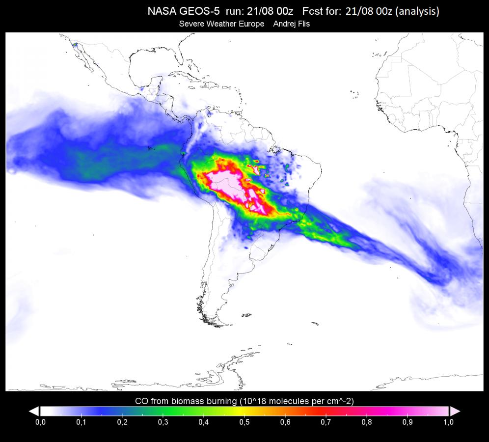 Az erdőtüzekből származó szén-monoxid elterjedése a légkörben (forrás: NASA)