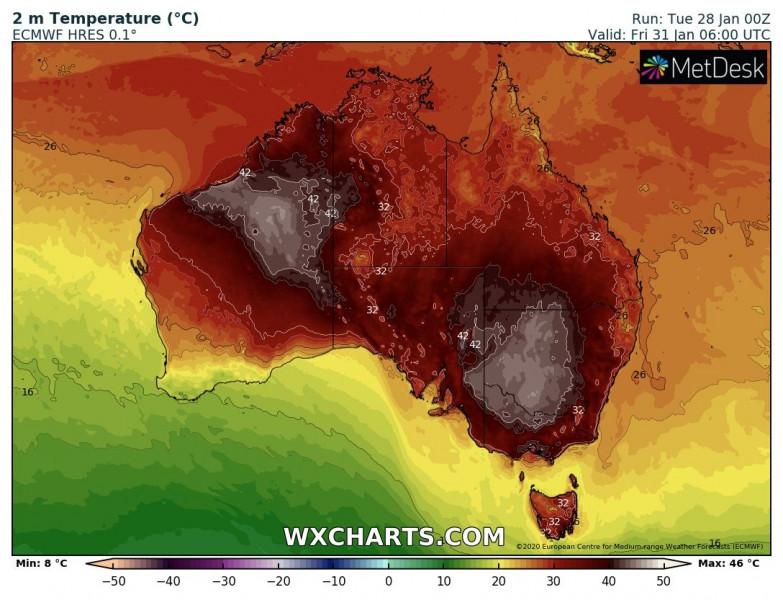 Péntekre várható hőmérséklet