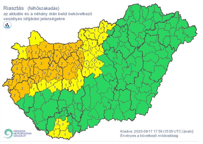 Itt fog órákon belül ömleni az eső veszélyjelzések, térkép