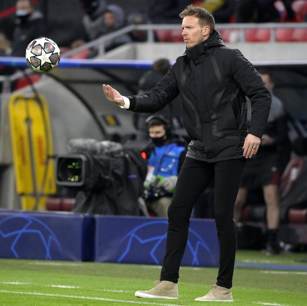 Budapest, 2021. március 10. Julian Nagelsmann, az RB Leipzig vezetőedzője a labdarúgó Bajnokok Ligája nyolcaddöntőjében játszott FC Liverpool-RB Leipzig visszavágó mérkőzésen a Puskás Arénában 2021. március 10-én. A Liverpool 2-0-ra győzött és 4-0-s összesítéssel továbbjutott. MTI/Koszticsák Szilárd