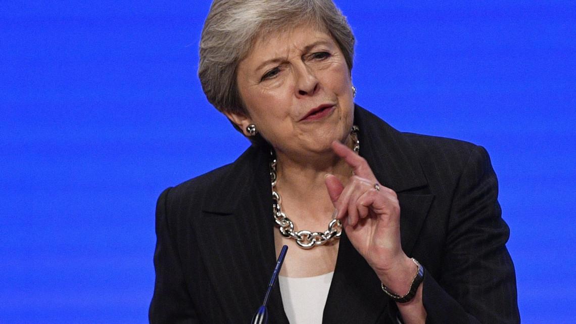 b92214d346 Birmingham, 2018. október 3. Theresa May brit miniszterelnök felszólal a  kormányzó brit Konzervatív